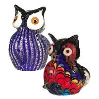"""406-232 - Favrile Art Glass Set of Two 4.75"""" Hand-Blown Owl Figurines"""