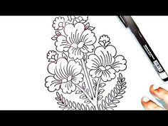 embroidery drawing images/flower drawing/hand embroidery pencil drawing, - YouTube Pencil And Paper, Pencil Art, Pencil Drawings, Border Design, Pattern Design, Hand Work Design, Maggam Work Designs, Online Drawing, Drawing Flowers