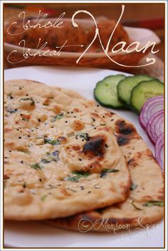 Whole Wheat Naan: For a Healthier Me! Whole wheat naan ~ I love making bunches and bunches of grilled naan and keep in the freezer. Just pop in the toaster to eat warm or load up with toppings and bake for little pizza's! Indian Food Recipes, Vegan Recipes, Cooking Recipes, Indian Snacks, Cooking Tips, Snack Recipes, Nan Recipe, Recipes With Naan Bread, Great Recipes