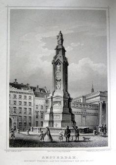 Amsterdam-Monument 1830 | Herkomst : J.L. Terwen - Het Koningrijk der Nederlanden, afm. 14 x 20 cm Staalgravure 1860