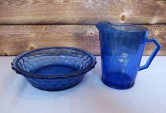 Vintage-Shirley-Temple-Cobalt-Blue-Glass-Cereal-Bowl-amp-Creamer-Milk-Pitcher