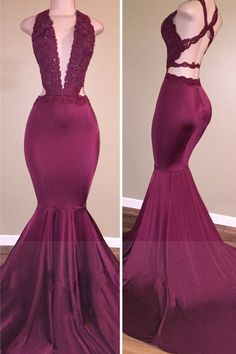 Sexy Mermaid Prom Dress Deep V-Neck Lace Beading Crisscross Back Evening Gowns