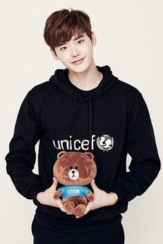Lee Jong-suk participates in Line X UNICEF with stuffed doll @ HanCinema :: The Korean Movie and Drama Database