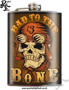Art inspired stainless steel bad to the bone hip flask @ The Pocket Hip Flask Company: