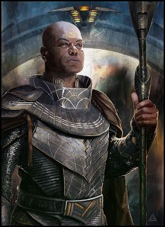 Art of Gray: Jaffa KREE !!! Portrait painted for CJ by Gary Jamroz, whose blog entry includes a pic of him with the actor holding this art, and a large image of it, and some notes, including 'it's a prestigious jaffa armor, I have redesign some part of it to be more fonctionnal and to reflect his hight rank in the free jaffa nation.'
