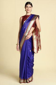 32d9e6eaeb837 Blue Color Silk Blend Zari Work Designer Saree With Blouse Piece online.