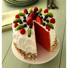 Watermelon Cake -- Put your seasonal summer produce to delicious use with this sweet and refreshing dessert recipe, ready to enjoy in just 20 minutes time. Summer Desserts, Healthy Desserts, Just Desserts, Delicious Desserts, Yummy Food, Kraft Recipes, Cake Recipes, Dessert Recipes, Watermelon Cake Recipe