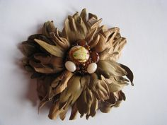 Beige leather flower fantasy w Lela Flowers na DaWanda.com