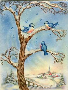 Vintage WIPCO Card: Bluebirds in Snowy Tree outside a Village- Mica Glitter by shesawildflower Christmas Card Images, Vintage Christmas Images, Christmas Bird, Vintage Holiday, Christmas Pictures, Vintage Winter, Christmas Crafts, Xmas, Bird Pictures