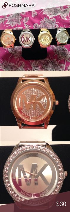 Mk watch Michael Kors watch I have rose gold, two different style in silver and gold. Jewelry