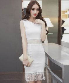 EC07178 Package hip tassels vest Korean style hollow dress