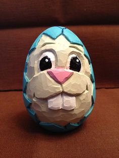 Hand Carved Wooden Goose Egg Easter Bunny Egg by RWKWoodcarving, $20.00