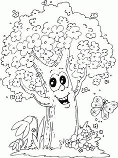 Blossom Tree Coloring Page Tree Coloring Page Spring Coloring Spring Tree Coloring Page Padr. Flower Coloring Sheets, Farm Animal Coloring Pages, Spring Coloring Pages, Tree Coloring Page, Cool Coloring Pages, Free Printable Coloring Pages, Blossom Tree Tattoo, Kindergarten Coloring Pages, Beautiful Landscape Wallpaper