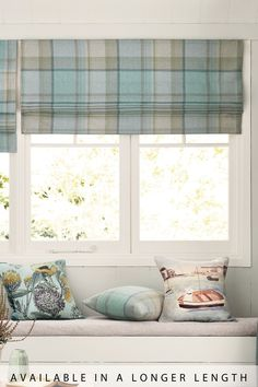 Next Marlow Woven Check Roman Blind - Teal Roman Blinds Design, Roman Curtains, Kitchen Window Blinds, Wooden Window Blinds, Kitchen Window Coverings, Blinds For You, Blinds For Windows, Traditional Curtains