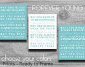 Forever Young PRINT SALE Set of 3 Bob Dylan Lyrics Art Typography Nursery Art Home Decor Parenthood Theme Song