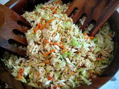 Asian Cole Slaw 1 Regular Bag of Cole Slaw 5-6 green onions chopped 1 or 2 Tablespoons of Butter 2 packages of Ramen Noodles - Crushed (discard flavor packet) 1 small package of Slivered Almonds Toss slaw mix with green onions. Melt butter in a skillet then add crushed Ramen noodles and slivered almonds and brown. Let mixture cool then add to slaw mix. Dressing: 1/2 Cup of Vegetable Oil 1/4 Cup of Rice Vinegar 1/2 Cup of Sugar 1 tsp of Soy Sauce Salt and Pepper to taste