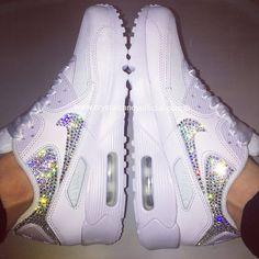 Crystal Nike Air Max 90's in White (backs & ticks)