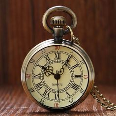 $5.99 AUD - Vintage Antique Style Roman Number Open Face Quartz Pocket Watch Chain Xmas Gift #ebay #Fashion Bronze, Style Steampunk, Quartz Pocket Watch, Quartz Watch, Pocket Watch Necklace, Pocket Watch Antique, Unisex Gifts, E Bay, Vintage Watches