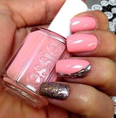 Pink nails with studs ...