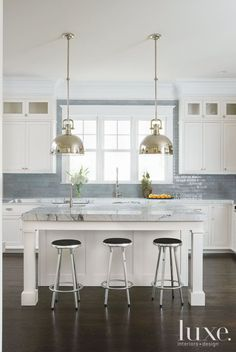 Transitional White Kitchen with Gray Backsplash