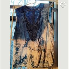 Vintage Hand dyed Shibori silk lace blouse Hand dyed shibori blouse. Has lace detailing in front and buttons down the back! Would fit small/medium Vintage Tops Blouses