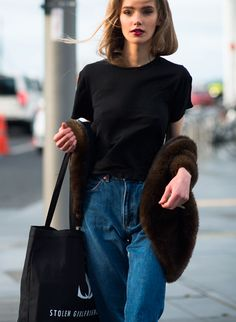 black tee & mom jeans. #MarnieHarris looking brills #offduty in Auckland.