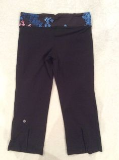 Lululemon Gather And Crow Crops 6 Womens Petal Pop Yoga Run Pants Floral Slits #Lululemon #PantsTightsLeggings