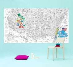 Grand USA Poster - / Giant - L 180 x 100 cm by OMY Design & Play