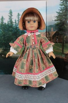 American Girl Doll Clothes -- Victorian style Pink and Green Print Day Dress, Straw & Fabric Bonnet and Apron. $75.00, via Etsy.