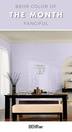 Get footloose and fancy free with your interior design style thanks to the Behr Paint Color of the Month: Fanciful. This light purple hue is a fun way to add a pop of pastel color to the walls of your home. Click below for more home decor inspiration.