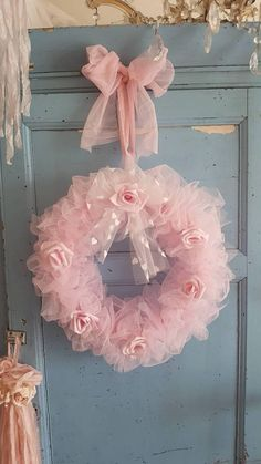 Pale pink Tutu tulle wreath with pale pink flowers and large bow to hang . Girl Baby Shower Decorations, Baby Decor, Wreath Crafts, Diy Wreath, Tutu Wreath, Mesh Ribbon Wreaths, Felt Animal Patterns, Tulle Poms, Pink Christmas