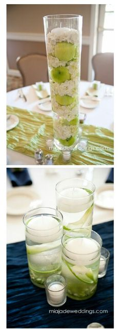 Easy wedding reception idea! Add a little color & what a simple decor idea