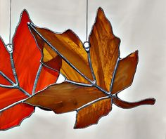 Brown Maple Leaf Stained Glass