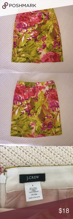 "J.Crew Floral Watercolor Straight Pencil Skirt 6 Lovely mix of pink, purple, yellow, chartreuse. 15"" waist. 21"" long. Knee length. Cotton blend. J. Crew Skirts Pencil"