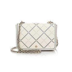 Tory Burch Robinson Crosshatch Crossbody New without tag. Crosshatched perforated leather lends an unexpectedly elegant touch to this pristine bag from Tory Burch. A pull-through woven chain-link-and-leather strap allows you to alternate between crossbody and over-the-shoulder styling, while a just-right, lined interior provides plenty of room for your essentials. Tory Burch Bags Crossbody Bags