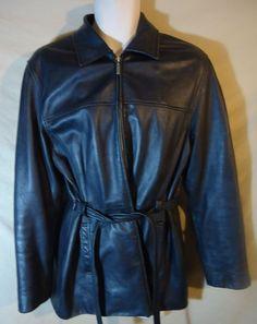 Women's U.S Polo As. Black Leather Belted Hip Coat Jacket w/ Gloves-Distressed-L #USPoloAssoc #HipJacket