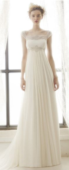 $155.29-Elegant Pleated Empire Tulle Wedding Dress With Cap Sleeves. http://www.ucenterdress.com/sheath-maxi-cap-sleeve-pleated-empire-square-neck-tulle-wedding-dress-with-appliques-and-illusion-pMK_700354.html.  Free Custom-made & Free Shipping! Shop lace wedding dress, strapless wedding dress, backless wedding dress, with sleeves, mermaid wedding dress, plus size wedding dress, We have great 2016 best Wedding Dresses on sale at #UcenterDress.com today!