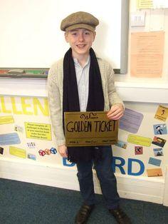 A school boy dressed as Charlie Bucket