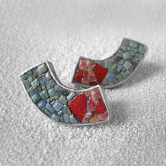 Sterling silver and a micro mosaic stud earrings in teal-blue, pink and red color. Ready to ship. by applenamedD on Etsy