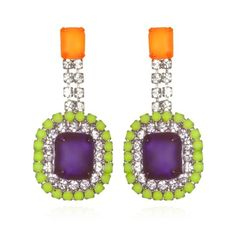 Charm & Chain | Vibrant Purple & Green Stone Earrings - Necklaces - Jewelry