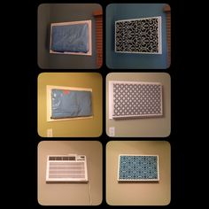 The Chic Technique: I hate having in wall air conditioners. This year I finally made frames and fabric covers for them! Here are the before and afters. Ac Unit Cover, Ac Cover, Rental Home Decor, Diy Home Decor, Room Decor, Diy Ac, Earthy Home, Air Conditioner Cover, Diy Adult