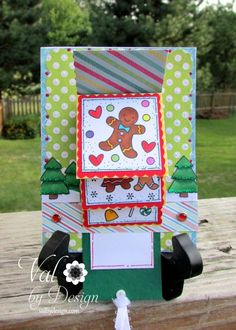 Waterfall Card with Lawn Fawn Sweet Christmas stamp set - ValByDesign
