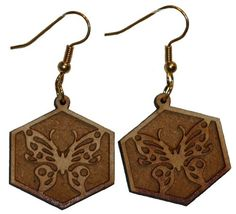 Butterfly Engraved earrings with 1 inch wooden beads- gold plated EP Laser http://www.amazon.com/dp/B00FEPKLIM/ref=cm_sw_r_pi_dp_vQzawb0ZA9M1Y