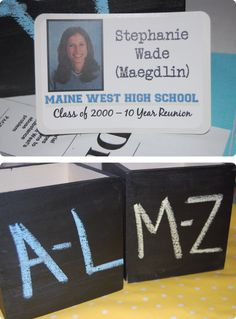 High school reunion nametags were designed to look similar to their old ID badges. The nametags were organized in wooden boxes painted with chalkboard paint.