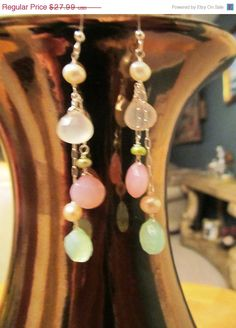 ON SALE Pink, green and rose chalcedony briolette cascade earrings - solid sterling silver - fresh water pearls - bridal jewelry by JewelsByFairy on Etsy