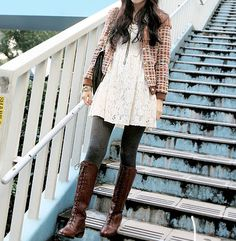 #korean fashion stripped blazer, white long top, gray tights or skinny jeans, brown boots