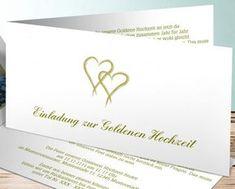 Ganz schlichte Einladungskarte zur Goldenen Hochzeit mit zwei Herzchen. #Hochzeitspapeterie #einladungskarten #goldenehochzeit