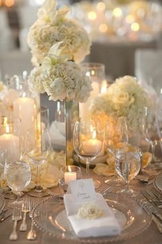 All white table setting for wedding with candles. Nice but too bland? LMC