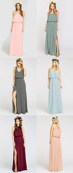 Boho bridesmaid dresses in pretty colors. Bohemian Bridesmaid Dresses | Maxi dresses for bridesmaids from Show Me Your Mumu