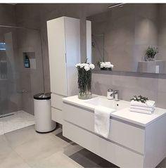 18 Beautiful Half Bathroom Ideas to Inspire You Banyo dekorasyonu Taupe Bathroom, Bathroom Floor Tiles, Bathroom Inspo, Bathroom Styling, Bathroom Inspiration, Bathroom Ideas, Nordic Interior Design, Bathroom Interior Design, Interior Design Living Room